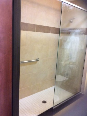 Shower Was Open Door Concept With No Door Just A Stationary Glass