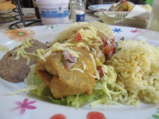 Taco Bello : The chimichanga/taco platter. Fresh, authentic, OH SO GOOD!