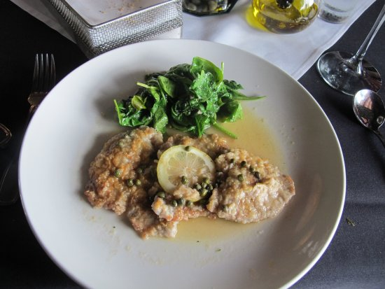Tubac, AZ: Sauteed Veal Picata with sauteed Spinach with Garlic