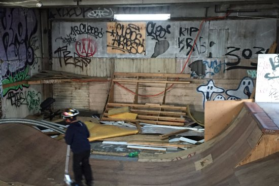 Braybrook, Australia: Pile of wood, nails and rubbish at the side of the ramp