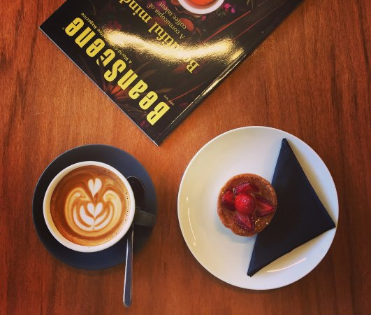 Nedlands, Australia: Coffee and Strawberry Tart from Rocketfuel.