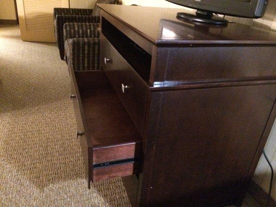Wyndham Garden Hotel Newark Airport: Unlevel floor, drawer stayed open