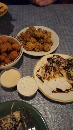 Elk Rapids, MI: roasted tomato bruchetta, fried okra and fried alligator