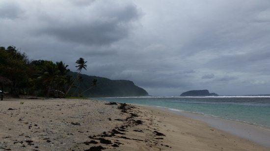 Looking east along Lalomanu beach