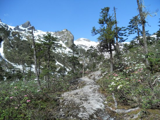 Lanping County, China: on the way to pass, trekking Biluo snow mountain.