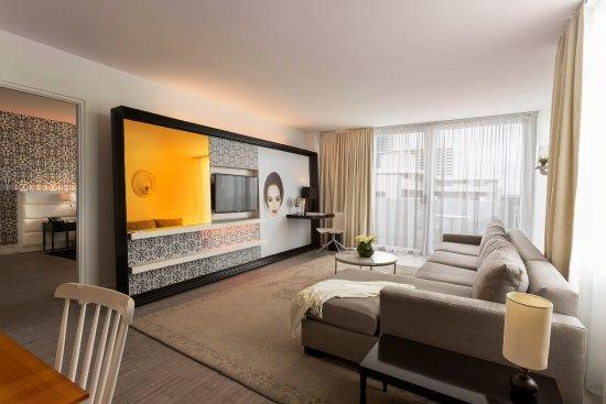 Mondrian South Beach Hotel: One Bedroom Suite   Living Room