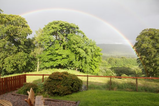 Strone Farm: view from the lounge after some rain