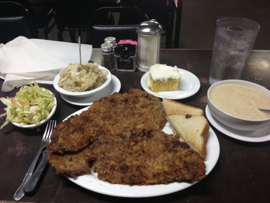 large chicken fried steak picture of mary s cafe strawn tripadvisor