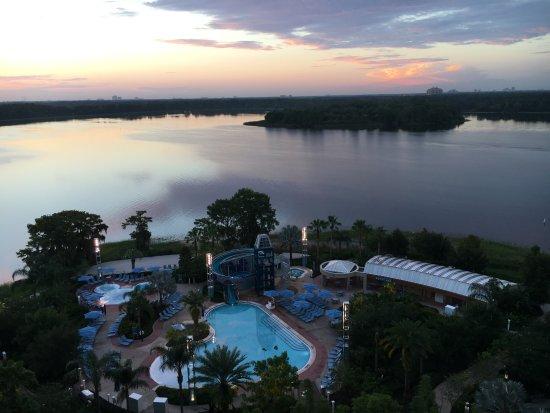 Bay Lake Tower at Disney's Contemporary Resort: Looking out to pool and Bay Lake at dawn on balcony