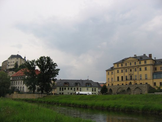 View across River Elster, Greiz Oldtown, with two castles