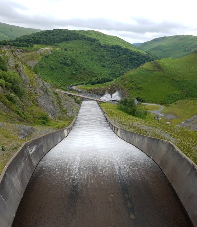 Nantgaredig, UK: View from the top of the dam.