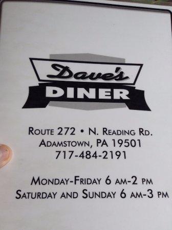 แอดัมส์ทาวน์, เพนซิลเวเนีย: Dave's Diner