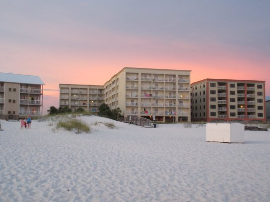 Back Of Hgi Sunset In Background Picture Of Hilton Garden Inn Orange Beach Orange Beach