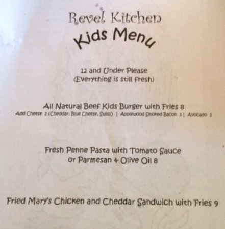 Revel Kitchen Kids Menu - Picture of Revel Kitchen and Bar ...