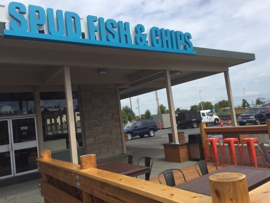 Spud Fish & Chips: exterior and new patio