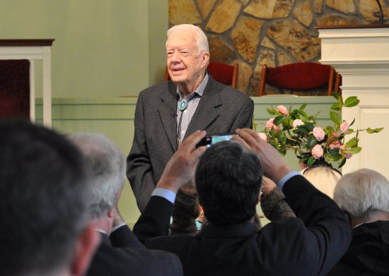 President Jimmy Carter teaching Sunday School in Plains, Georgia.