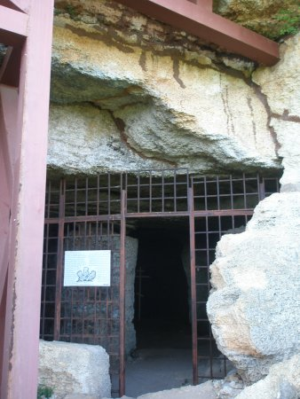 Yaylata National Archeological Reserve: The entrance of the church which has been re-enforced.