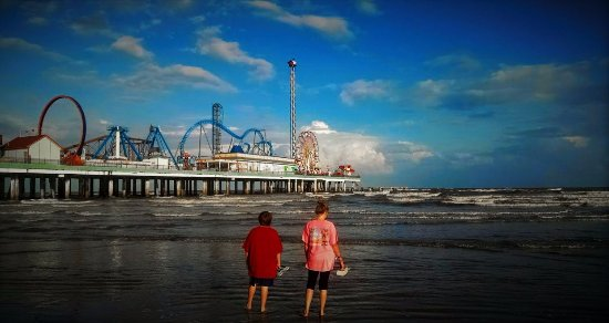 Galveston Island Historic Pleasure Pier View From The Beach