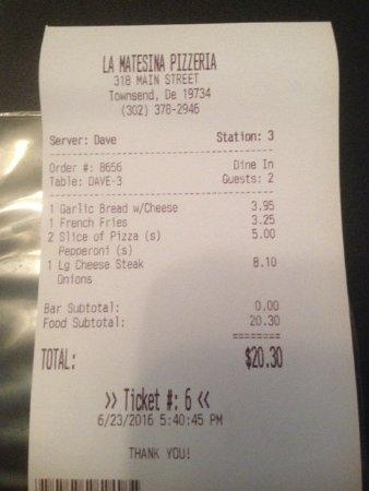 La Matesina Pizza Pasta: check for 2