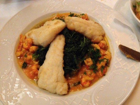 Gailingen, Germany: Fisch auf Spinat und Crevetten