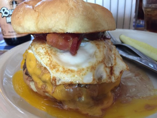 Baileys Harbor, WI: The one, the only, Hang Over Burger. The best of everything in one sandwich.