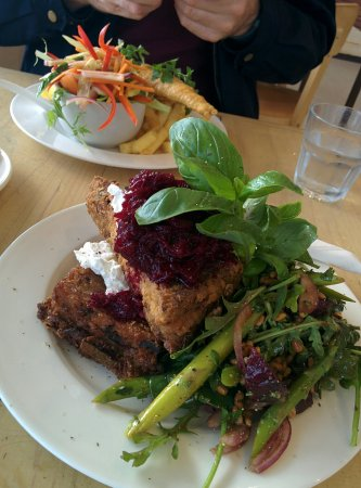 Normanville, Australia: Risotto cake with beetroot relish, sour cream and beetroot, spinach and asparagus salad.