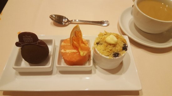 Hollywood Brown Derby: Dessert trio... this is the mascarpone sphere, grapefruit cake, and blueberry cobbler