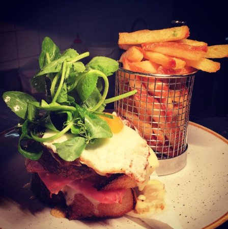 Blackheath, Australia: Croquet Madame with double smoked ham and gruyere cheese topped with a Wolgan Valley egg