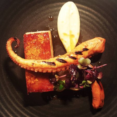 Blackheath, Australia: 14 hour slow roasted, apple glazed pork belly, char-grilled octopus, pickled pear and celeriac c