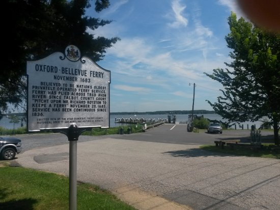 Oxford-Bellevue Ferry: A view of the ferry landing and historical sign. Ferry in oeration since 1683