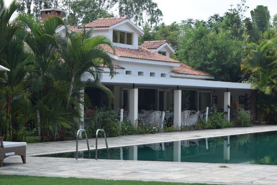 Restaurant and pool picture of amanvana spa resort coorg kushalnagar tripadvisor Hotels in coorg with swimming pool
