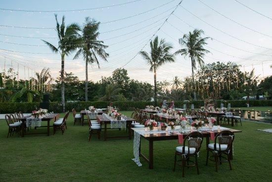 Shalimar Villas : Wedding Reception set up to left of Makanda's Pool (closer to Kalima)
