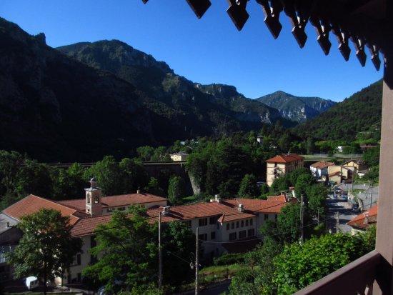 Saint-Dalmas-de-Tende, France: Morning sun, view from hotel room balcony