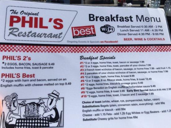 Phils Restaurant Wakefield Menu Prices Restaurant Reviews