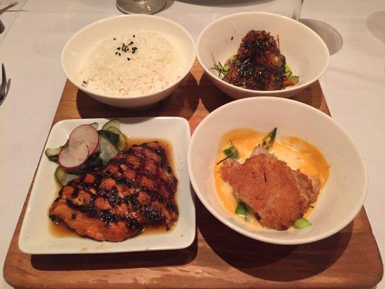 Roy's Waikiki Beach: Fish sampler platter. Macadamia-crusted opakapaka in lower right.