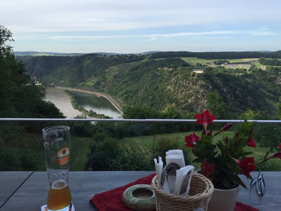 Urbar b Koblenz am Rhein, Jerman: View of the Loreley rock from our table