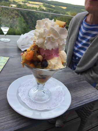 Urbar b Koblenz am Rhein, Tyskland: Ice cream and fruit sundae