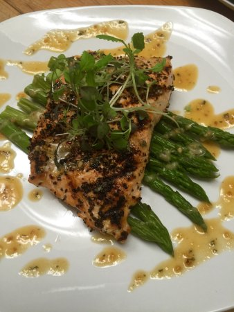 Altoona, PA: 7 pepper grilled wild Atlantic salmon topped with spicy micro greens and drizzled with a garlic/