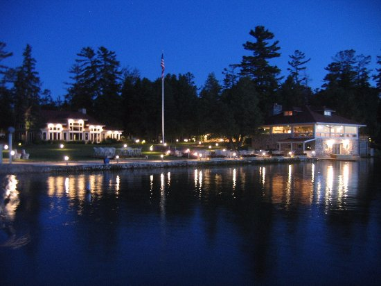 Baileys Harbor, WI: Night view from dock back toward the Top Deck restaurant and Event Center.