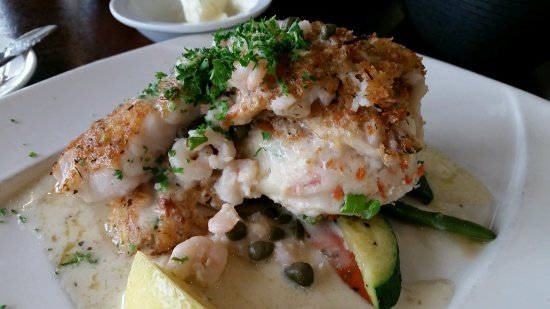 Depoe Bay, OR: Rockfish with Shrimp & capers