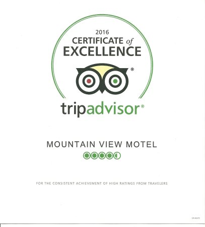 Mountain View Motel: 2016 Certificate of Excellence