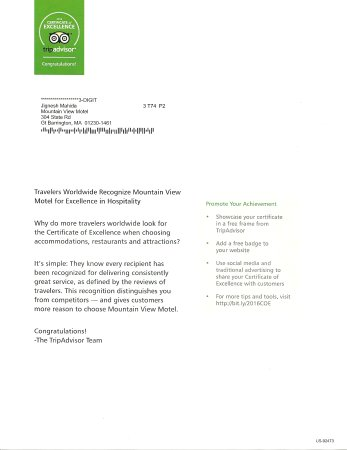 Mountain View Motel : Letter from Tripadvisor team