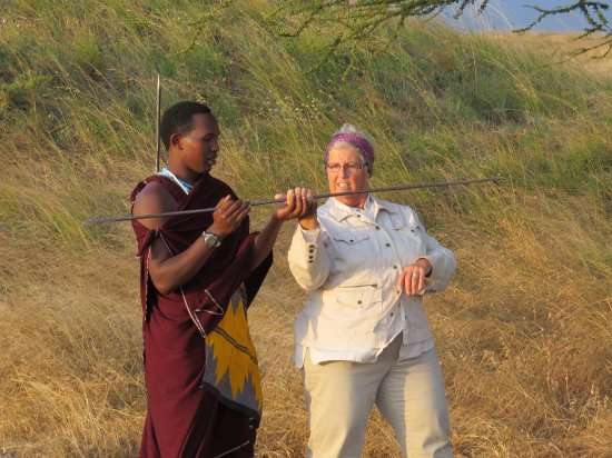 Spear throwing instruction - Picture of Original Maasai