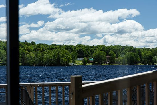 Greenville Junction, ME: View from our table of Moosehead Lake.
