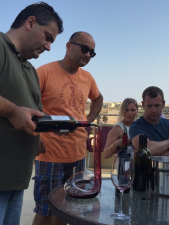 Tal-Massar Winery: Filling the Mamba decanter.