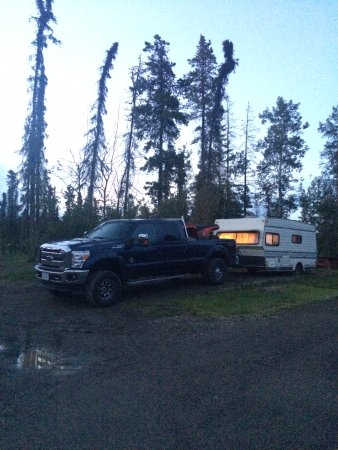 Pink Mountain, Canada : our campsite for the night - hacked out of the woods!