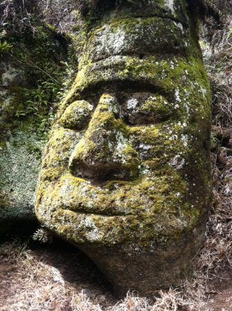 Floreana, Ecuador: Stone face near the caves, carved by Heinz Wittmer (as noted in the book)