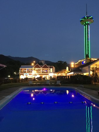 Gatlinburg Inn: My husband took this the night we arrived. The pool is open until 11:00 so you can take a late s