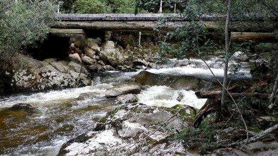 St Columba Waterfall: Timber bridge leading to Ralphs falls.