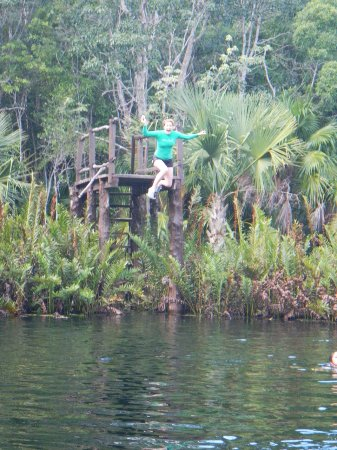 Cenote Crystal: Jumping off the platform is awesome fun